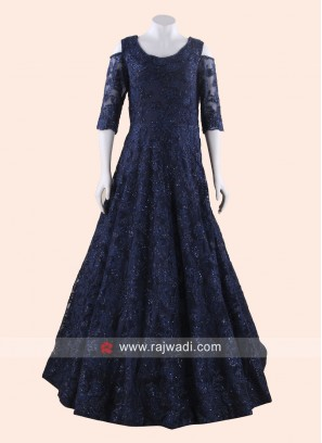 Blue Cold Shoulder Floor Length Gown