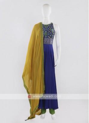 Blue color Anarkali Suit with dupatta