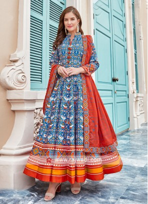 Blue and Red anarkali Suit With Dupatta