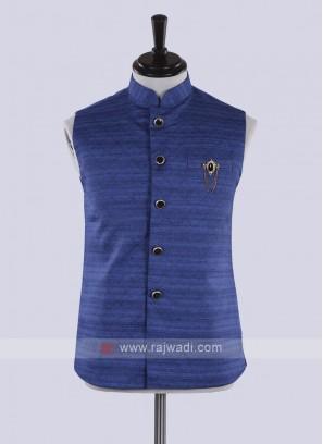 blue color art silk koti