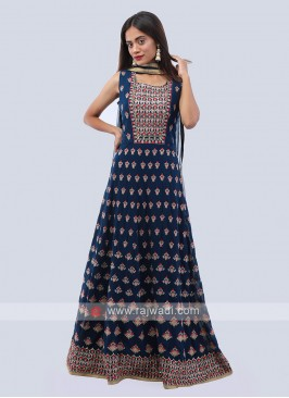 Blue color chiffon anarkali suit.
