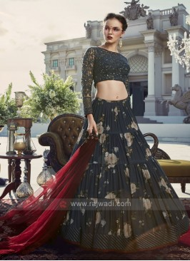 Blue color chiffon floral printed lehenga choli