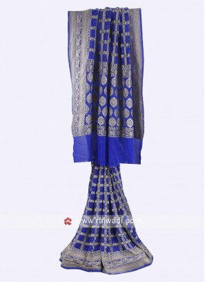 Blue color chiffon saree