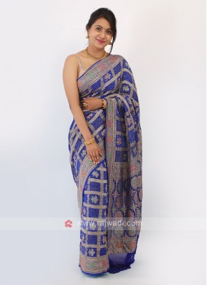 Blue Color Bandhani Chiffon Saree