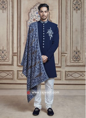 Blue Color Imported Fabric Indo Western With Dupatta