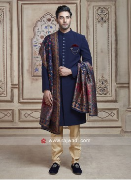Blue Color Indo Western With Dupatta