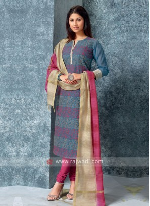 Blue Color Kurta with Churidar & Dupatta
