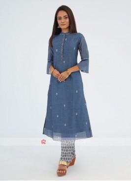 Blue Color Simple Soft Cotton Kurti Set