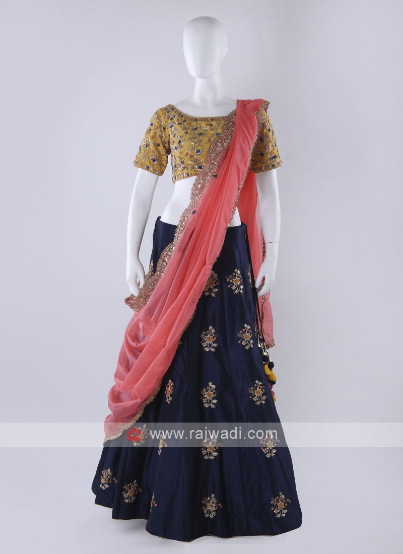 Blue color lehenga choli with contrast dupatta