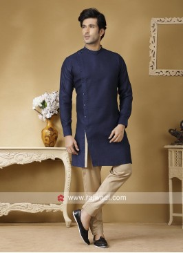 Blue Color Linen Fabric Kurta Set