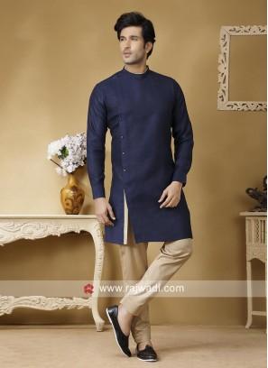 Blue Color Linen Fabric Kurta Set