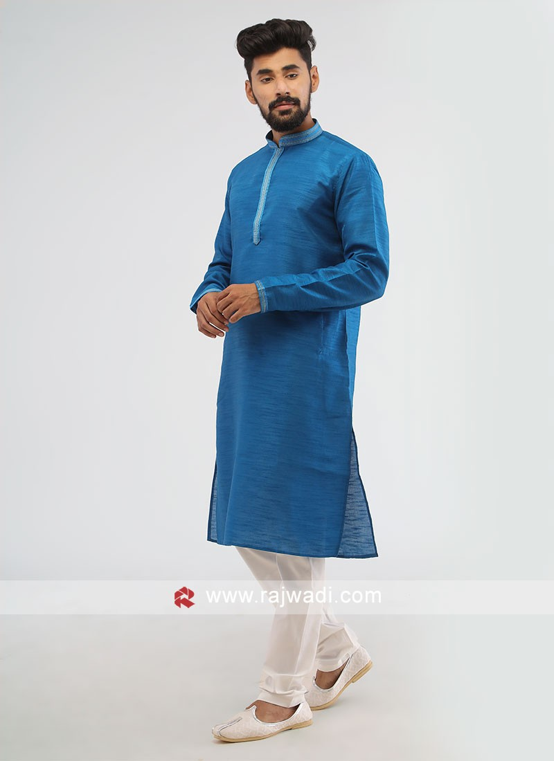 Blue Color Mens Kurta Pajama