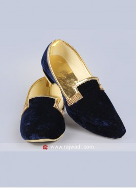 Navy Velvet Fabric Mojari