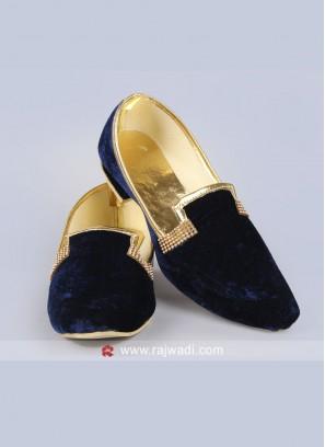 Navy Velvet Fabric Mojari