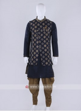 Blue color Nehru jacket suit