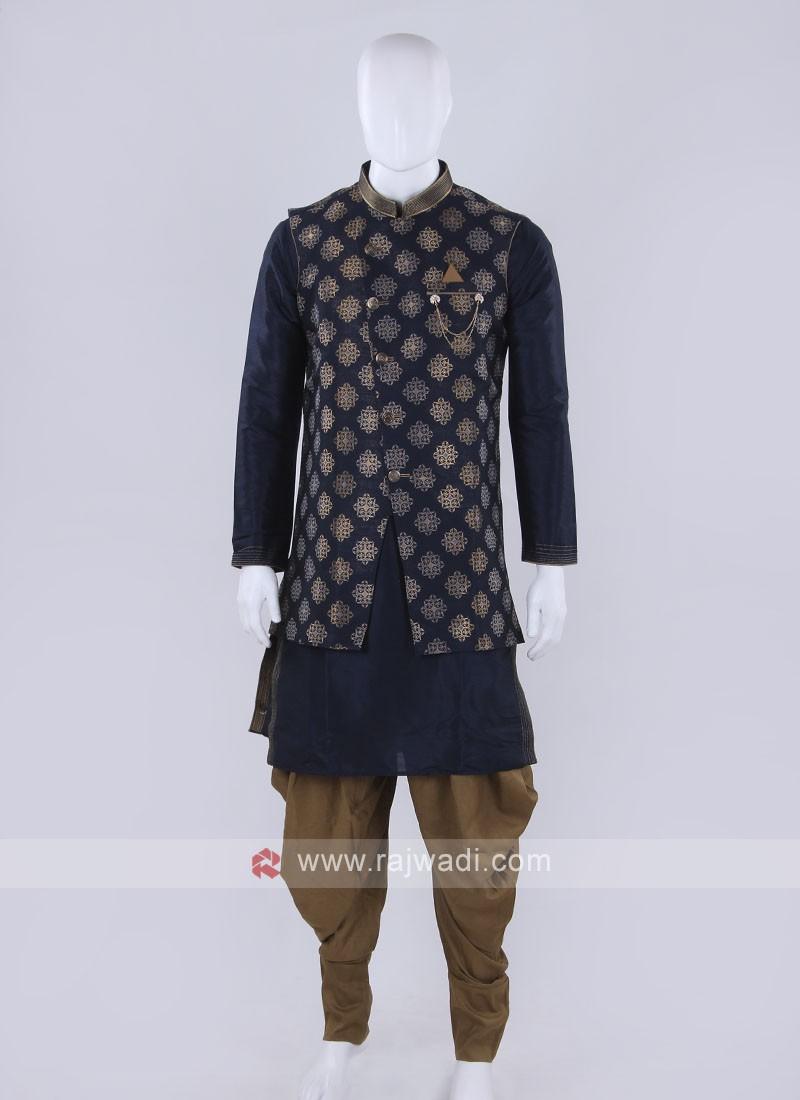 Blue color Nehru jacket suit