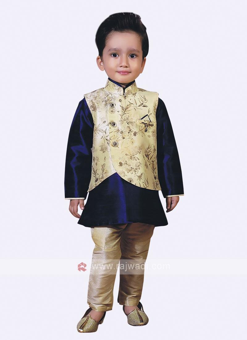 Blue color Nehru Jacket For Boys