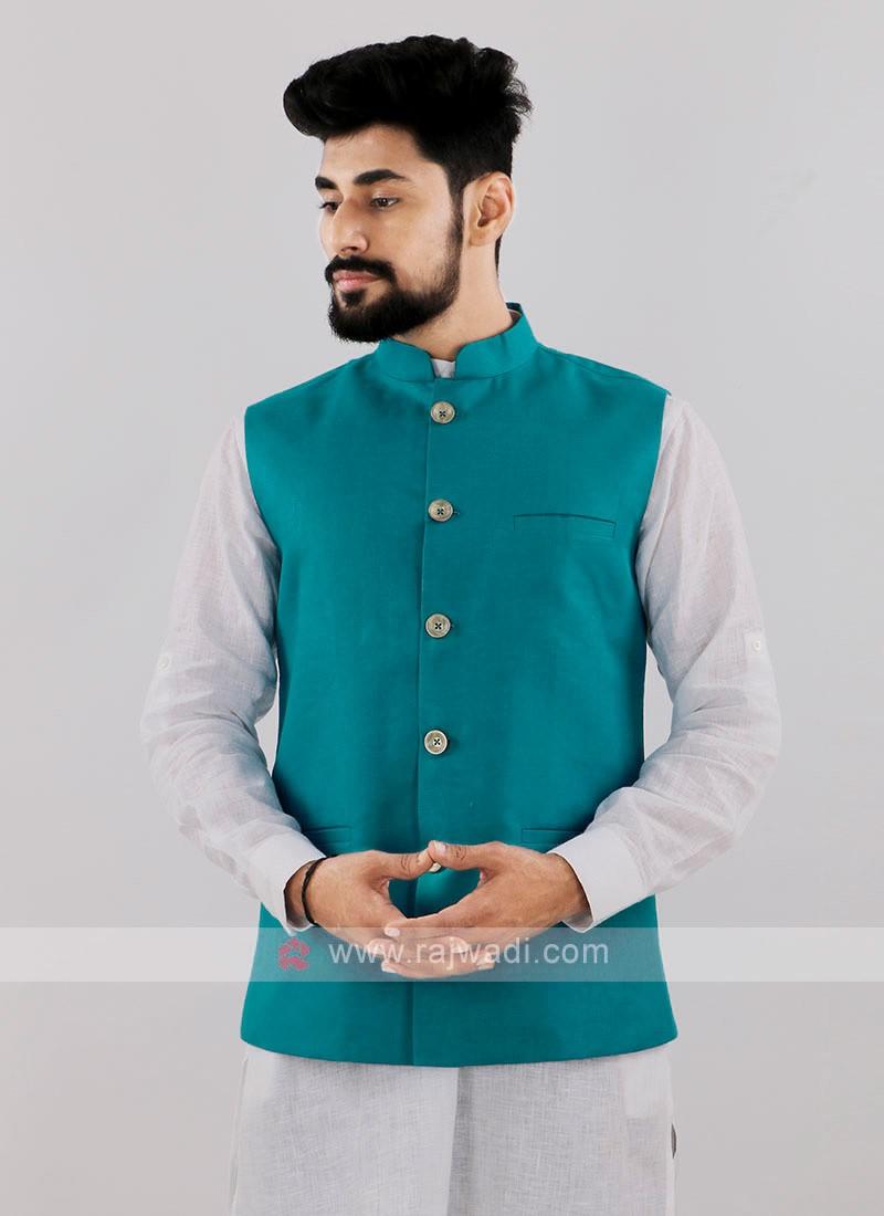 Blue Color Nehru Jacket For Men