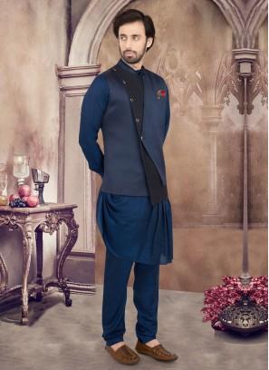Attractive Cowl Style Nehru Jacket Set