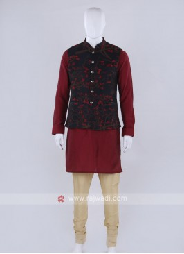 Blue color nehru jacket with kurti suit