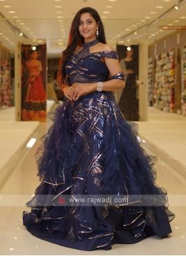 Blue Color Net Choli Suit