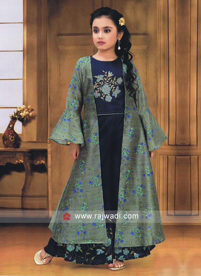Blue color palazzo suit with koti