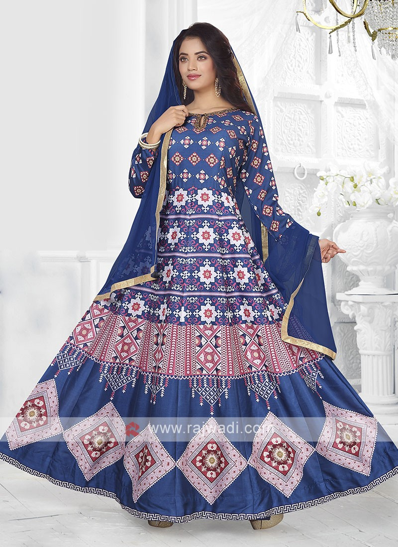 Blue Color Printed Anarkali Suit with dupatta