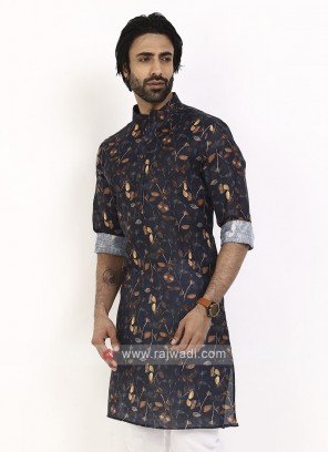 blue color printed kurta