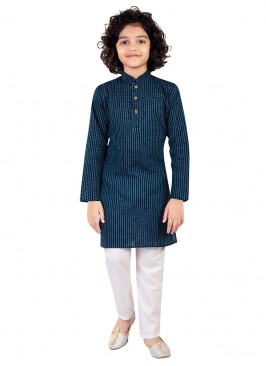 Blue Color Printed Kurta Pajama