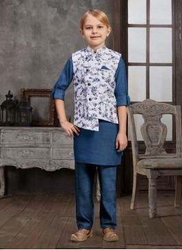 Blue Color Printed Nehru Jacket Set