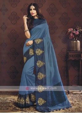 Blue Color Raw Silk Saree