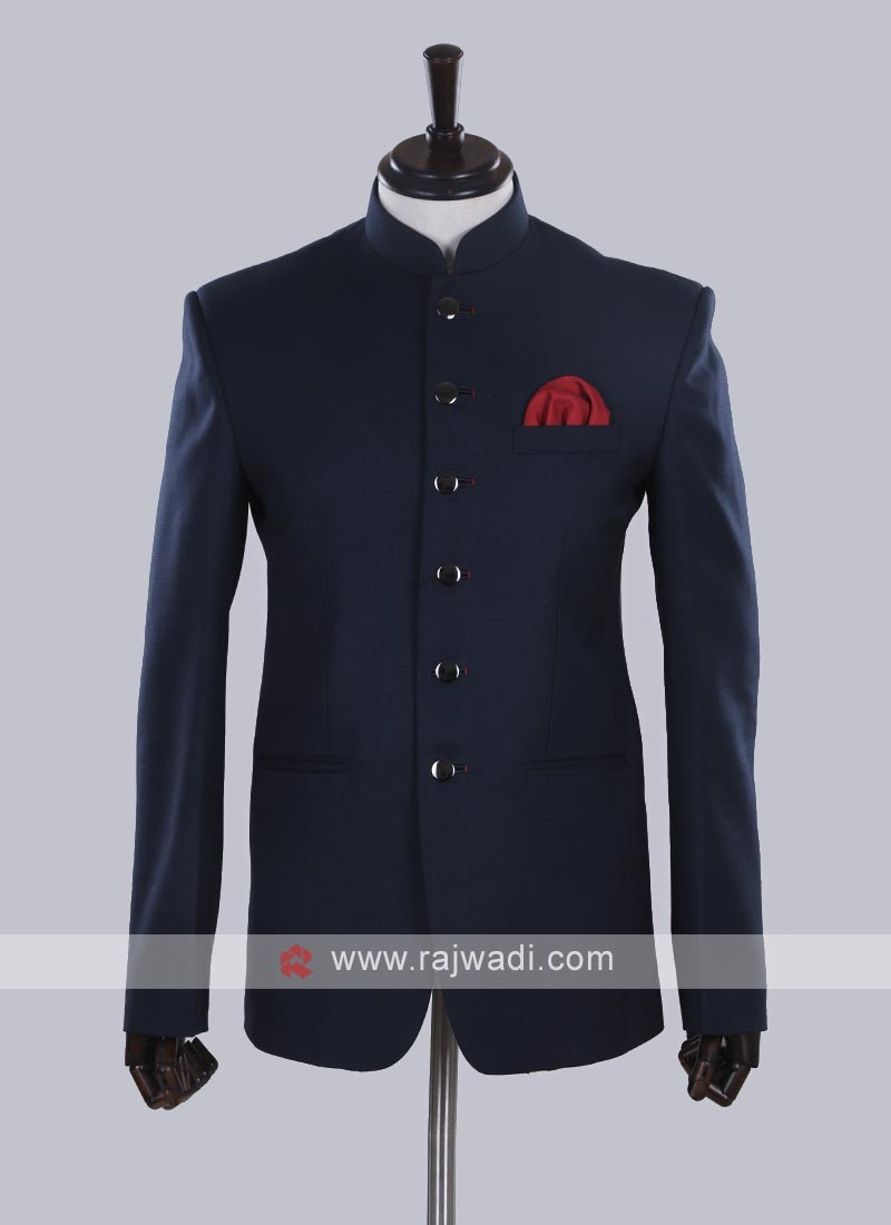 Blue color solid Jodhpuri Suit