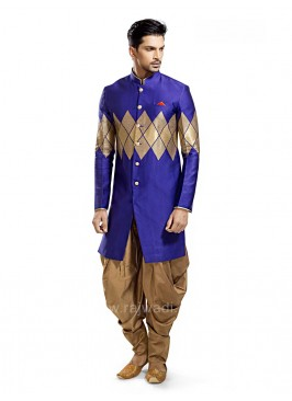 Blue Colored Printed Kurta With Patiala