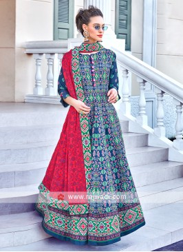 Blue Colour Anarkali Suit With Contrast Dupatta