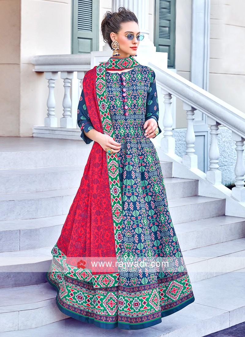 Blue Colour Anarkali Suit With Contrast Dupatta
