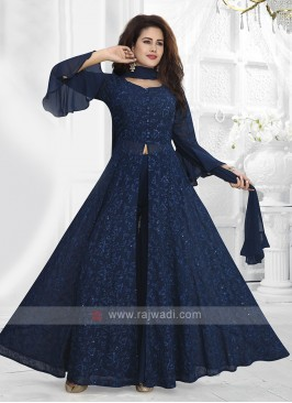 Blue Colour Indo-western With Dupatta