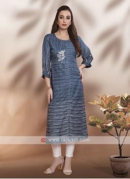 Blue Cotton Fabric Kurti