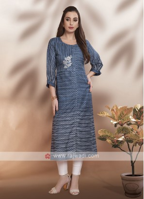 Blue Cotton Fabric Kurti