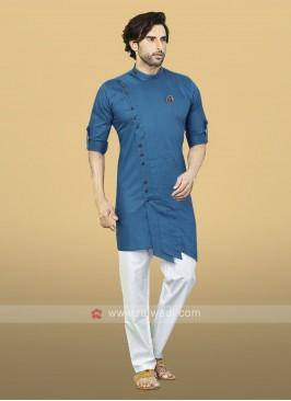 Blue Cotton Kurta Pajama