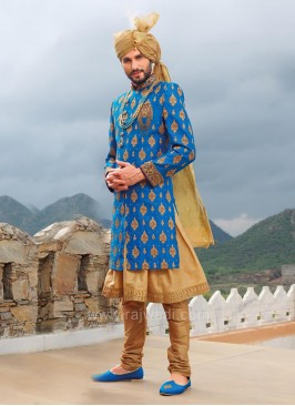 Blue Designer Long Koti With Golden Kurta and Bottom