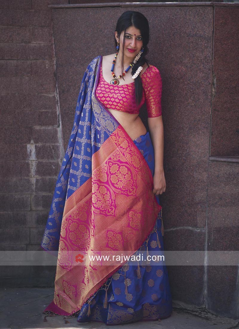 8f6764759c929e Blue Designer Patola Saree. Hover to zoom