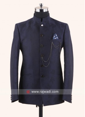 Blue Emboss Fabric Jodhpuri Suit