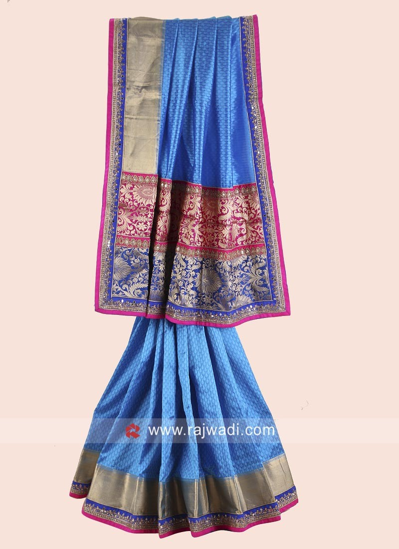 Blue Embroidered Jacquard Silk Saree