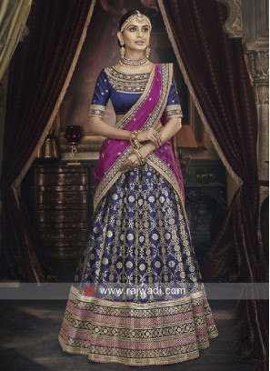Blue Embroidered Lehenga