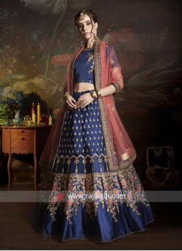 Blue Embroidered Lehenga Choli