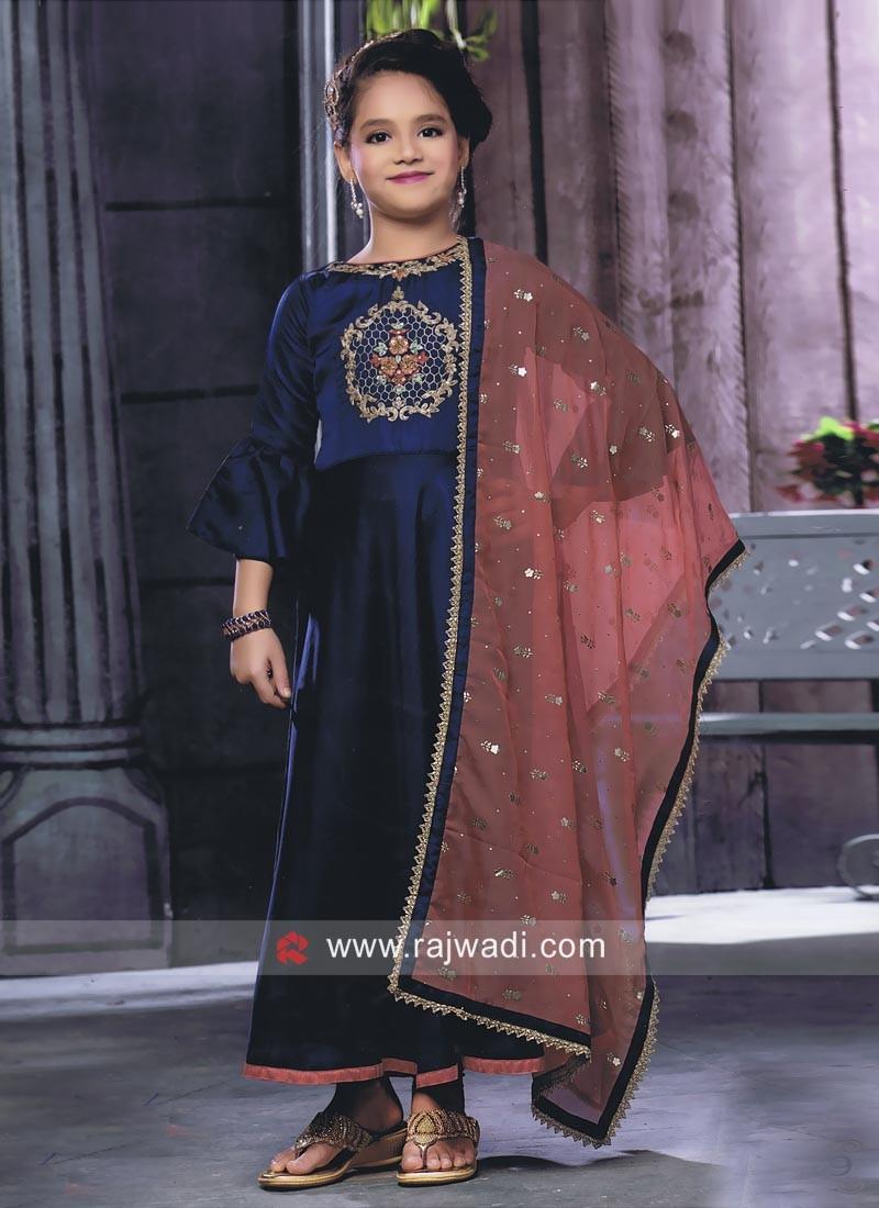 Blue Embroidered Salwar Kameez for Girls