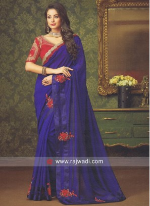 Blue Embroidered Saree