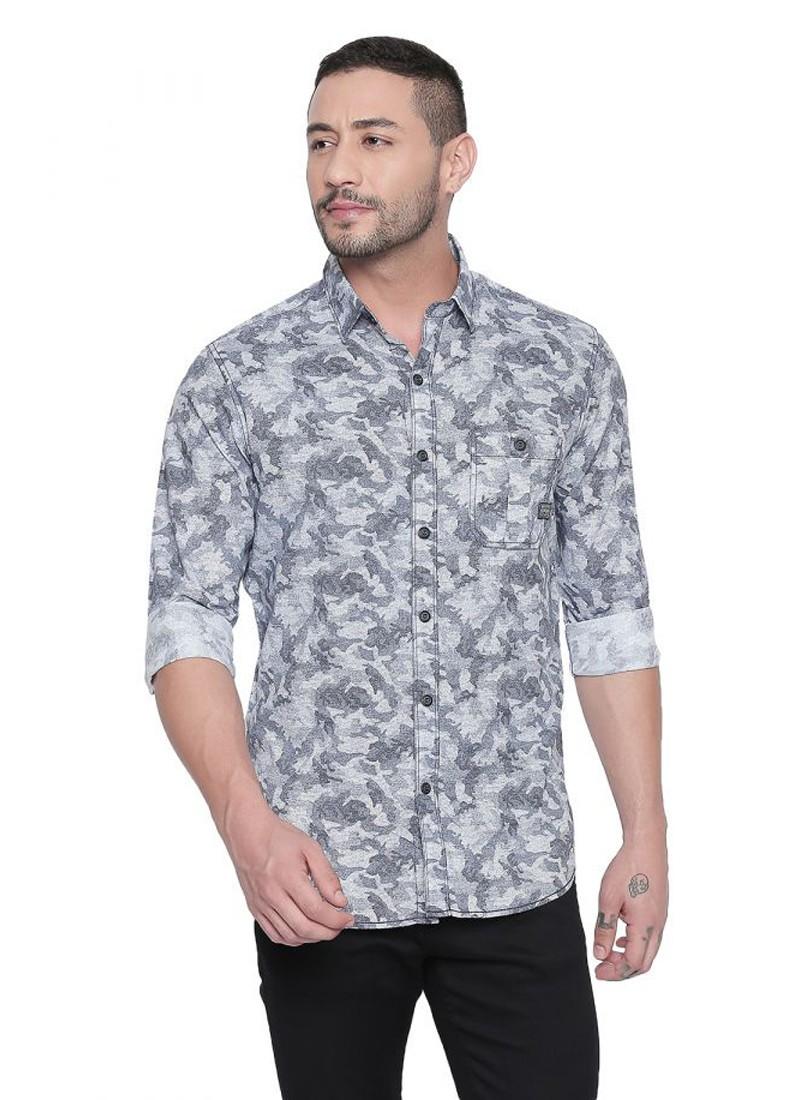 Blue Exotic Print Full Sleeves Shirt