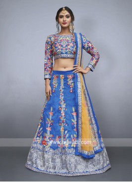Blue Flower Embroidered Lehenga