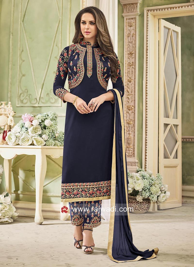 Blue Heavy Work Salwar Suit with Koti